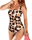 Upopby Women's Padded Push UP One Piece Swimsuits Tummy Control Swimwear for Women Printed Monokini Bathing Suits Leopard 12