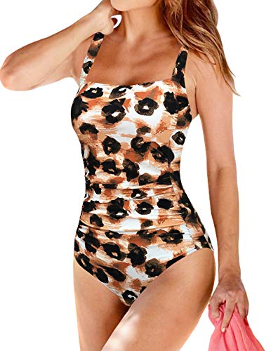 Upopby Women's Padded Push UP One Piece Swimsuits Tummy Control Swimwear for Women Printed Monokini Plus Size Bathing Suits Leopard 14