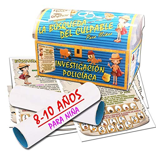 Búsqueda del tesoro en forma de investigación policíaca – para niña 8-10 años - para fiestas de cumpleaños – juegos para niños
