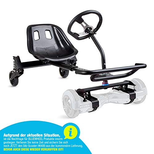 "Bluewheel Sedia Kart HK400 | Estensione per 6,5 bis 10"" Hoverboard | GoKart Elettrico, Manubrio & Supporto | Sedile Comfort concavo & Regolabile + Telaio in Acciaio a 8 Strati"