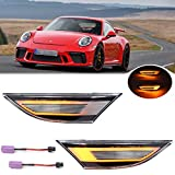 2Pcs Clear Lens Amber LED Dynamic Sequential Blink Side Marker Lights for Porsche 991 Carrera 981 Boxster Cayman 718 Boxster Cayman Front Bumper Side Marker Lamp OEM Replacements
