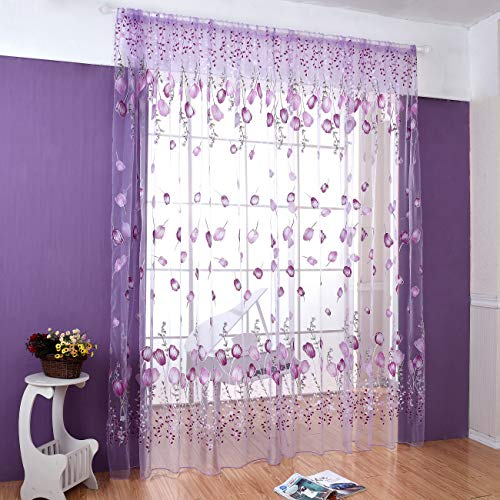 """Haoun 2 Pcs 39.4""""x78.8"""" Inch Purple Tulip Curtain Sheer Window Panels Drapes Voile Tulle for Living Room"""