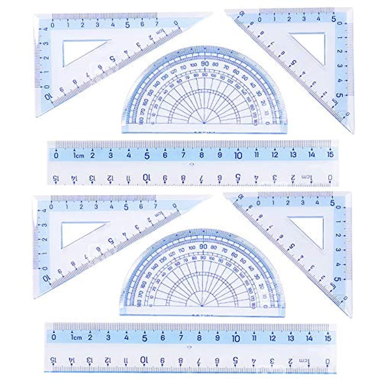 遊びますつぶす造船Rocutus 8点/セット 正方形プレート 半円分分分分度器 定規 勉強用定規 作業用定規 多目的学生用プラスチック定規