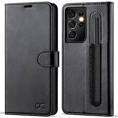 Samsung S21 Ultra Hülle mit S Pen Halter, Handyhülle[Premium PU Leder] [Kartenfach] [Standfunktion] Flip Hülle Cover RFID Schutzhülle Etui Klapphülle Schwarz