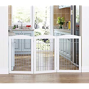 Spirich Extra Wide and Tall Dog gate for The House, Doorway, Stairs, Freestanding Foldable Wire Pet Gate for Dogs, 80-inch Wide,30 inches Tall, 4 Panels, White