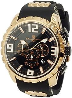 [サルバトーレマーラ] クロノグラフウォッチ メンズ 腕時計 クォーツ ラバーベルト ブラック 時計クロス付き BKPG