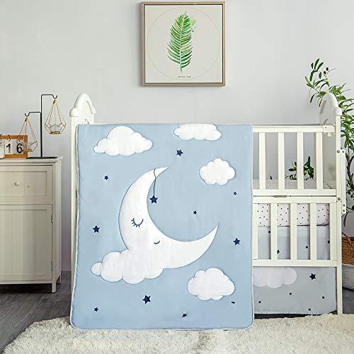 La Premura Sleeping Moon Baby Nursery Cuna Juego de ropa de cama para niñas – Baby Unicorn & Rainbows, 3 piezas tamaño estándar cuna ropa de cama