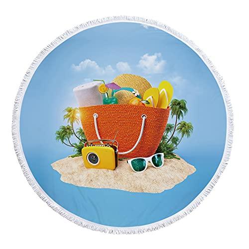 KLily Manta Redonda con Patrón De Paisaje, Decoración con Flecos, Toalla De Playa Junto Al Mar, Toalla De Baño para El Hogar, Manta para La Siesta, Lavable