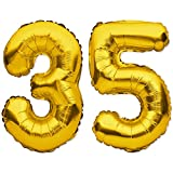 35th Birthday Decorations Gold Supplies 40inch Balloon for Men and Women with Birthday Party 35 Digit Balloons for Him or for Her