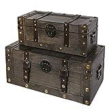 Soul & Lane Miranda Decorative Wooden Storage Trunk (Set of 2) | Wood Box Chest