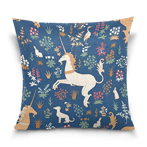 lucies Throw Pillow Case Decorative Cushion Cover Square Pillowcase, Retro Floral Animal Unicorn Rabbit Bunny Sofa Bed Pillow Case Cover(18x18inch) Twin Sides