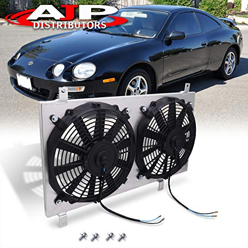 AJP Distributors Replacement Upgrade JDM Manual MT Transmission Aluminum Radiator Dual 12' Cooling Blade Fan Shroud Cover Kit For Toyota Celica GT4 GT-Four 1994 1995 1996 1997 1998 94 95 96 97 98