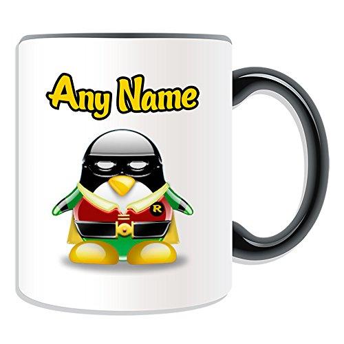 Regalo personalizado – Taza Robin (tema de diseño de personajes de película de pingüino, opciones de color), cualquier nombre/mensaje en su único – Disfraz de superhéroe Marvel Comics Avengers Batman