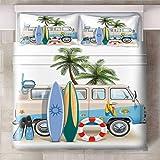 GJKIEB Funda de Almohada Coche de Tabla de Surf de árbol de Coco Verde Azul Gris Juego de Cama de 240xmx220cm Funda nórdica Antiarrugas fácil Cuidado 2 X FundasdeAlmohada 50x75cm.
