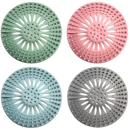 Nigaga 4 Stück Abflusssieb Haarsieb Dusche Abflussschutz für Küche, Badezimmer, Badewanne,Einfach zu Säubern (4 Farben)