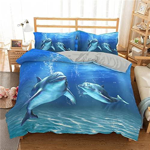 Meetlife Juego de cama infantil con diseño de animales marinos y 50 x 80 cm, fundas de almohada, para niños, cama de Navidad (Reino Unido, 220 x 240 cm)