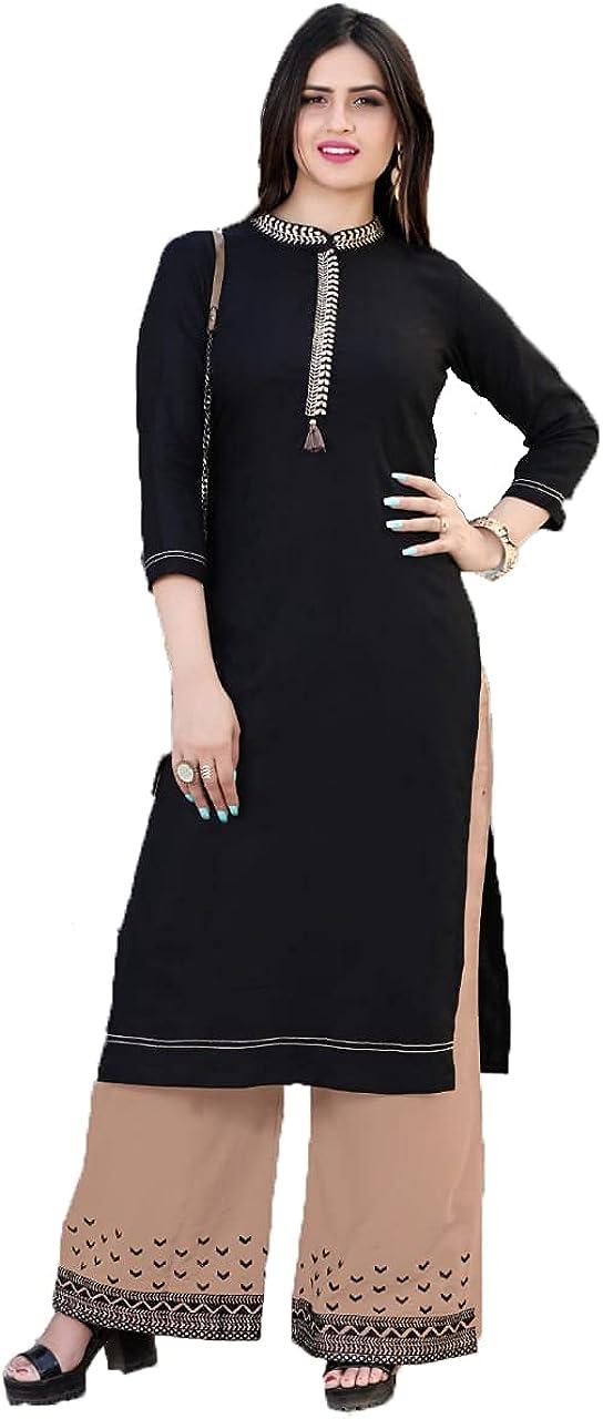 Hiral Designer women's rayon indian pakistani kurti palazzo pant set for women