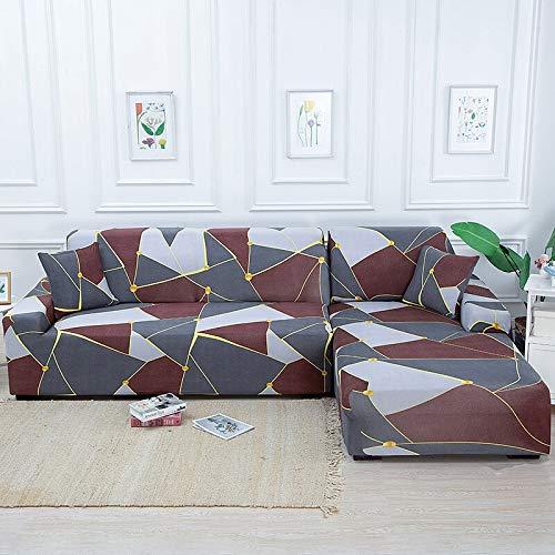 ASCV Fundas de sofá de Esquina geométricas para Sala de Estar Fundas elásticas para sofá Funda de sofá elástica Toalla en Forma de L Necesita Comprar 2 Piezas A5 4 plazas