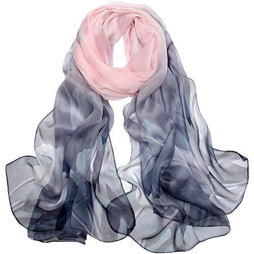 LD Foulard Donna Seta Sciarpa Leggero Lungo Elegante Naturale 100% Silk Scarf Regalo L-175 * 65cm (Rosa grigio)