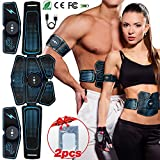 Popolic Abdominale Electrostimulation, EMS Ceinture Abdominale USB Charge Appareil ABS Stimulateur Musculaire Abdominal/Cuisse/Bras Muscle EMS Forme d'exercice Fitness pour Homme Femme