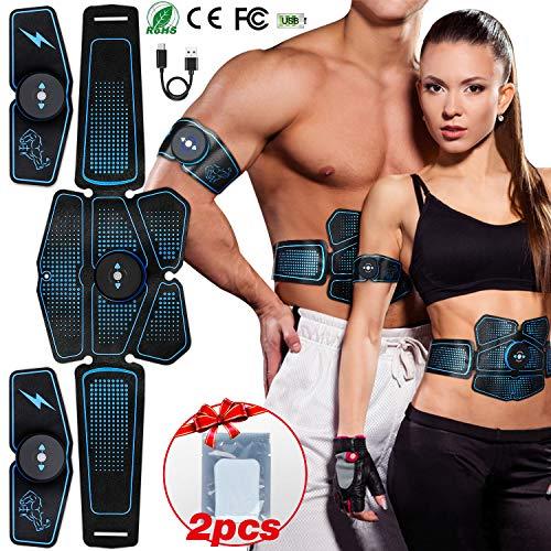 POPOLIC EMS Electroestimulador Muscular Abdominale Cinturón, Cinturón Abdominal Electroestimulador, Masajeador Eléctrico Cinturón para Abdomen Cintura, etc, Hombre Mujer - con USB Recargable