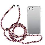 MyGadget Funda Transparente con Cordón para Apple iPhone 7/8 / SE 2020 - Carcasa Cuerda y Esquinas Reforzadas en Silicona TPU - Case y Correa - Multicolor