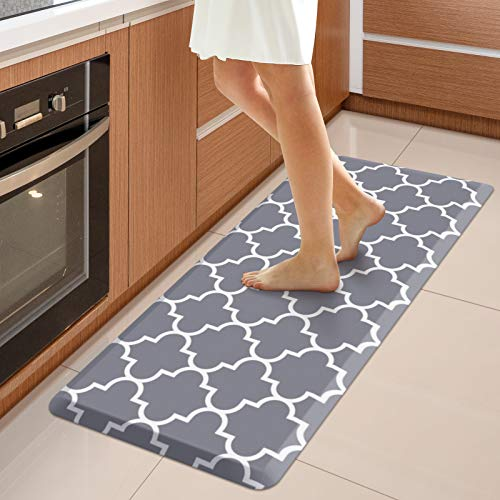 """WISELIFE Kitchen Mat Cushioned Anti-Fatigue Kitchen Rug,17.3""""x 39"""",Non Slip Waterproof Kitchen Mats and Rugs Heavy Duty PVC Ergonomic Comfort Mat for Kitchen, Floor Home, Office, Sink, Laundry , Grey"""