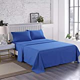 Wonwo Bed Sheet Set Queen Size Hotel Luxury Quality Sheets Brushed Microfiber 1800 Thread Count Sheets Hypoallergenic 16 inch Deep Pocket, 1 Flat Sheet, 1 Fitted Sheet, 2 Pillowcases, Navy Blue