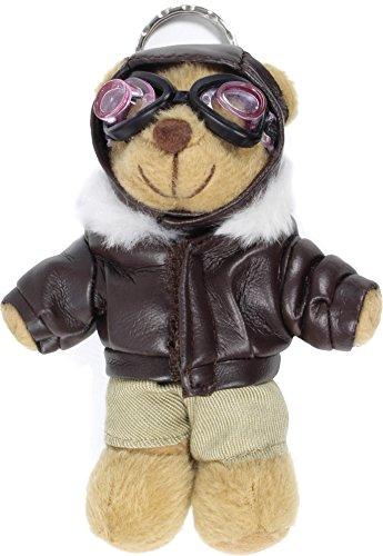 normani Schlüsselanhänger Teddy Pilot mit Lederjacke und Fliegerbrille 11 cm