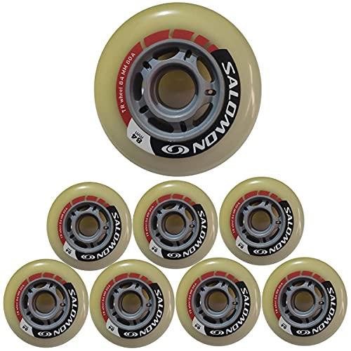HJXX Juego de 8 ruedas de skate en línea de 84 mm, ruedas de repuesto para patinaje de patinaje de patinaje al aire libre, fórmula de asfalto 80 A, rueda de repuesto para adultos hombres y mujeres