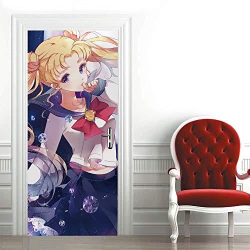 Mural para Puerta Niña Anime 3D Papel Pintado Puerta Autoadhesivo Vinilos Pegatinas De Pared Diy Decoraciones para Puerta Sala De Baño Estar Dormitorio 77X200Cm