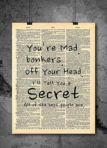 Alice in Wonderland Bonkers Mad Quote Dictionary Art Print - Vintage Dictionary Print 8x10 inch Home Vintage Art Wall Art for Home Decor Wall Decorations For Living Room Bedroom Office Ready-to-Frame