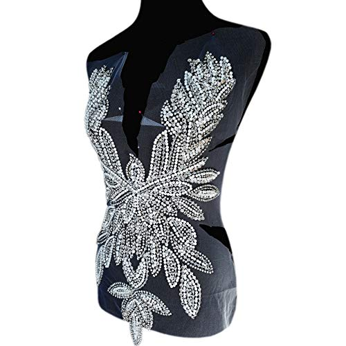 Silberne Diamant-Pailletten, Perlen, V-Applikation, Kristalle, Aufnäher, spezielles Design, Front-Panel, Nähen für Abendkleid, Ballkleid, Zubehör