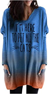 Cat Shirts Womens V-Neck Sweatshirt Tunic Long Sleeve Blouse Colorblock Tops with Pockets
