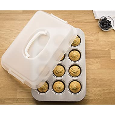 USA Pan 1200MFLD-ST-1 Bakeware Nonstick 12 Cup Cupcake and Muffin Pan with Lid