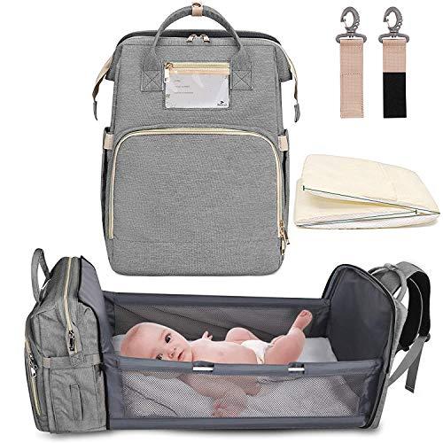 5-in-1 Travel Bassinet faltbare Babyportable Wickeltische Rucksack Tragbare Babykörbe for Baby Jungen-Bett (Color : Gray)