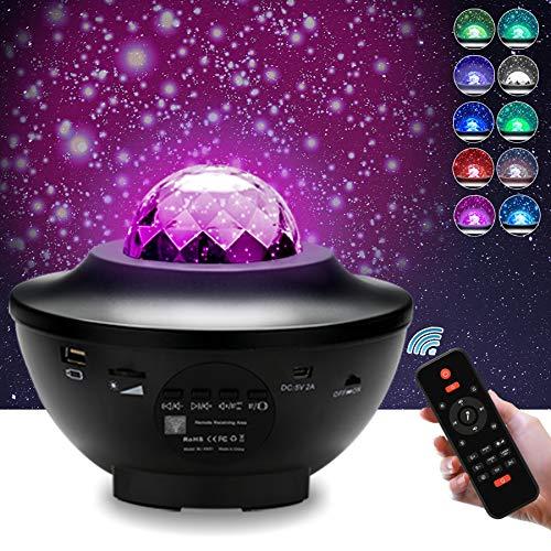 VINGO LED Projektor Sternenhimmel Led sternenprojektor Lampe Nachtlicht, mit Starry Stern Mond/Wasserwellen-Welleneffekt/Fernbedienung/Musiklautsprecher/Timer 2 in 1 Ozeanwellenprojektor