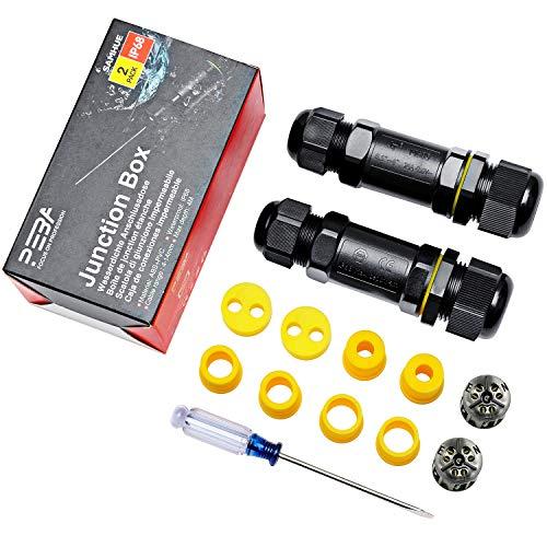 Abzweigdosen Wasserdicht Verteilerdose IP68 3-Wege Klemmdose für Aussen Wasserdichte Kabelverbinder 3-polig für Ø3-7mm und Ø4-14mm Kabeldurchmesser (2er-Pack)