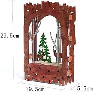 YANKAN Luz Decorativa Led,Navidad Decoracion Luces ,(Serie De Navidad Bosque Madera Corte Laser De Color Fawn BateríA)