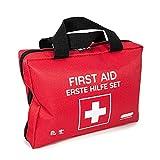Bolsa de primeros auxilios con compresas frías instantáneas, manta de rescate y surtido de esparadrapos (103 piezas, rojo)
