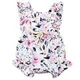 Newborn Infant Baby Girl Floral Ruffle Bowknot Romper Bodysuit One-Piece Jumpsuit Summer Outfits Clothes (3-6 Months, Floral)