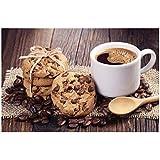 Tbdiberc Grano De Café Y Galletas De Chocolate Cartel De Desayuno E Impresiones Comedor Nórdico Decoración De Alimentos Arte De La Pared Pintura En Lienzo para Cocina -60X80Cmx1 Sin Marco