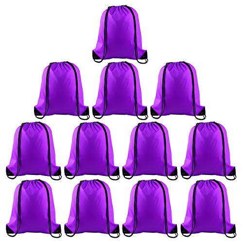 KUUQA 12 Pcs Drawstring Backpack Bags Sport Gym Sack Cinch Bags Bulk for School Traveling and Storage (Purple)