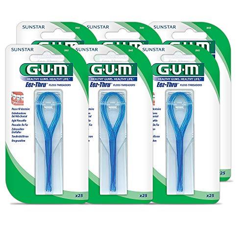 GUM EEZ-Thru Floss Threaders, 25 Count (Pack of 6)