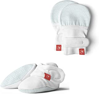 Baby Booties & Mittens Bundle, Adjustable Soft & Secure (Drops/Aqua, 0-3 Months)