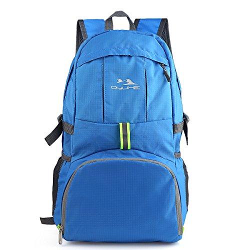 qyuhe® 35L Packable viaggio escursionismo zaino da viaggio ultra leggero per uomini e donne, blu