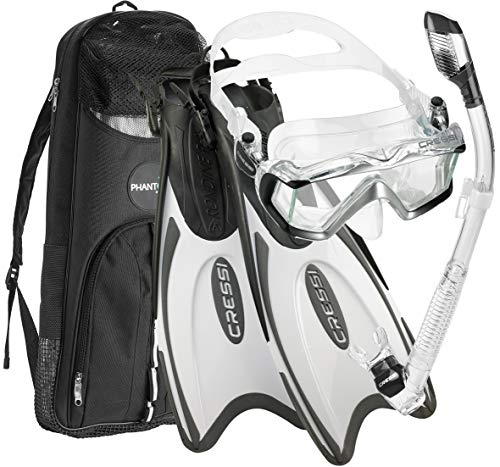Cressi Italian Design Boutique Collection - Palau Self Adjust Fin - Panoramic View Tempered Glass Lens Dive Mask - Purge Valve Dry Tube Snorkel Set - Scuba Snorkeling Gear, White, M/L