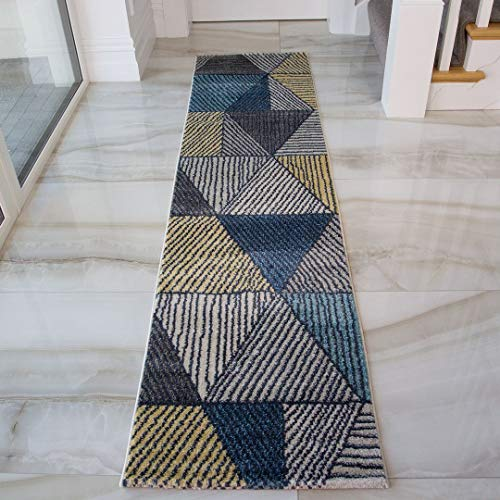 The Rug House Tapis Passage Corridor Abstrait Géométrique Artistique Bleu Ocre Gris Crème Salle de Séjour Salon Cuisine Chambre