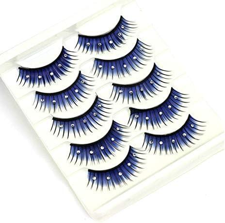 5Pairs Blue Fluffy False Eyelashes with Rhinestone High Volume 3D False Lashes Extension Handmade product image