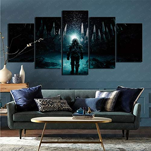 CELLYONE Art Print on Canvas Poster Hanging Picture Underwater Movie Suitable for Restaurant Hotel 100x50cm Frameless